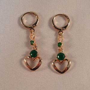 18k Gold F Green Topaz Zircon Love Heart Earrings